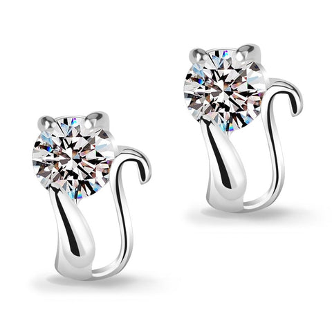 Silver Cat Earrings with a Cubic Zirconia - Fashion Cat Design