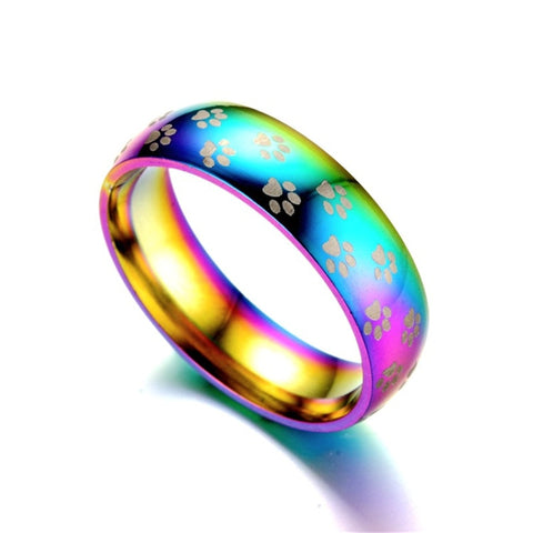 Rainbow Cat Paw Ring - Fashion Cat Design