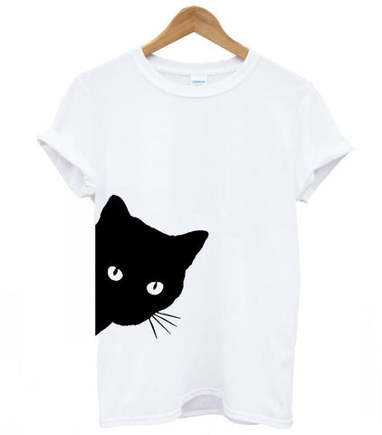 Black Cat T Shirt - white