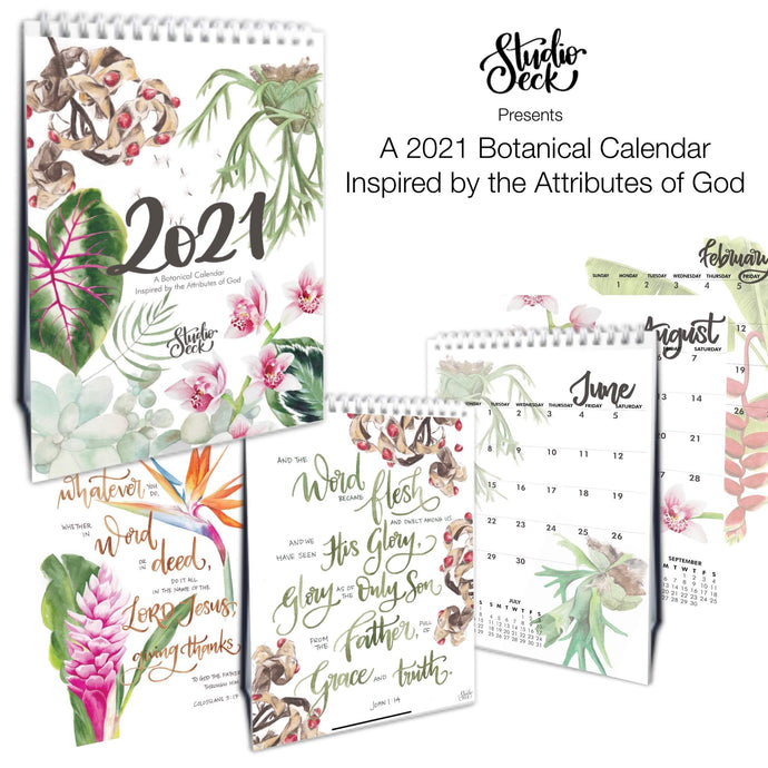 2021 Botanical Calendar - Inspired by God's Attributes