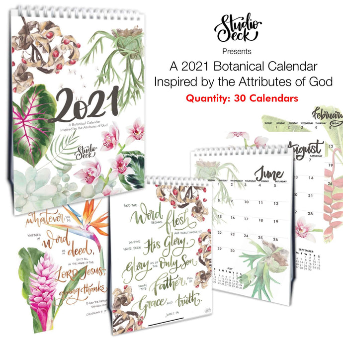 2021 Botanical Calendar - Inspired by God's Attributes (30 Calendars)