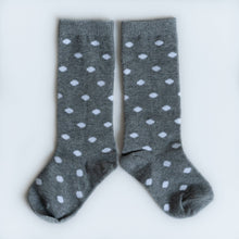 Load image into Gallery viewer, Knee High Socks in Gray Dot
