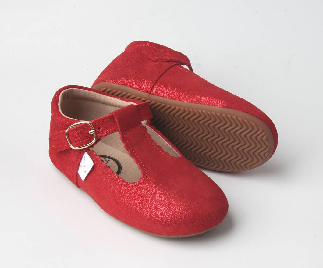Red Sparkle T Bar Moccasin