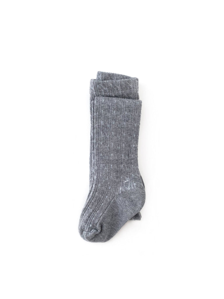 Footed Cable Knit Tights in Gray
