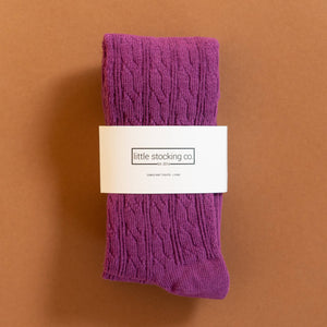 Footed Cable Knit Tights in Purple