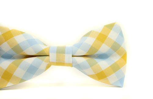 Light Blue & Yellow Plaid Bow Tie