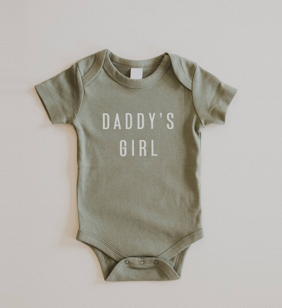 """Daddy's Girl"" Organic Cotton Onesie in Sage"