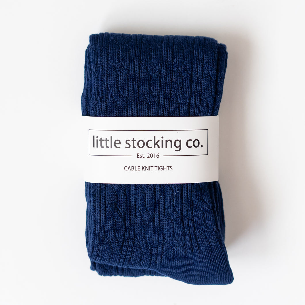 Footed Cable Knit Tights in Navy
