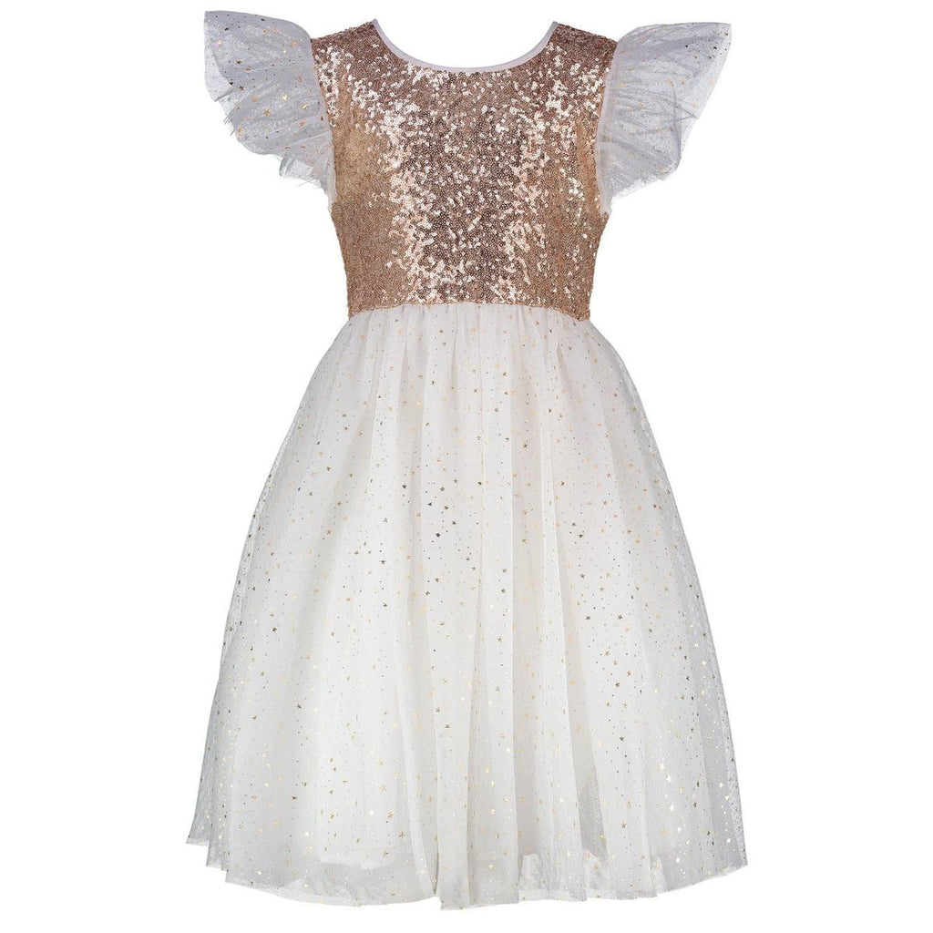 Shimmer Dress in Gold & Ivory
