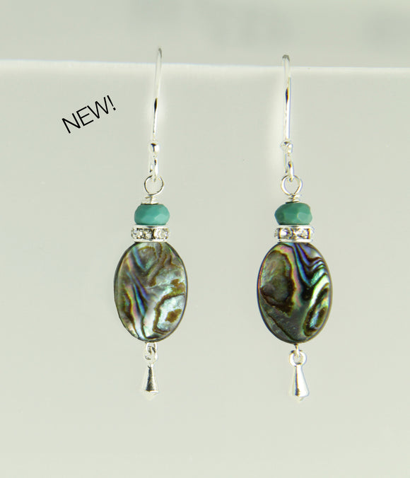 Abalone and Turquoise Earrings for Throat Chakra