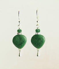African Jade and Emerald Earrings for Heart Chakra