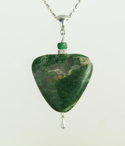 African Jade and Emerald Necklace for Heart Chakra
