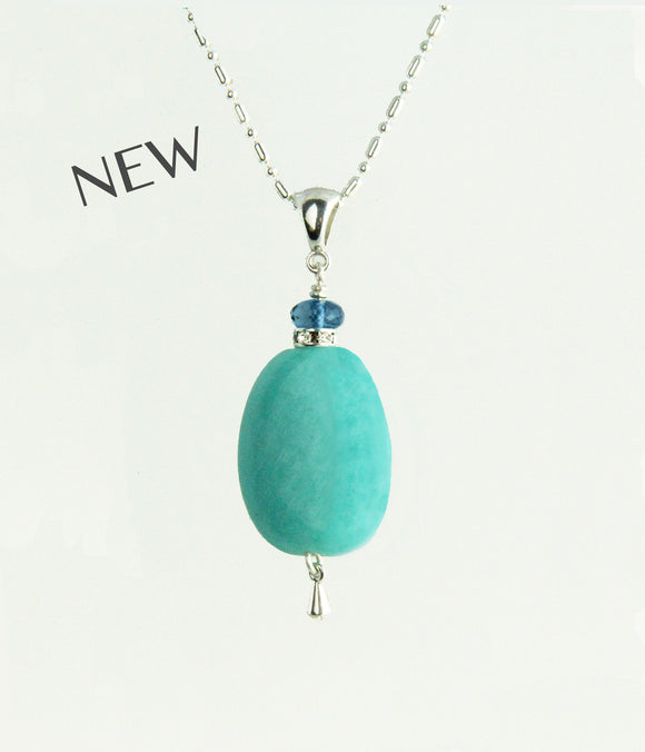 Amazonite and London Blue Topaz Necklace for Throat Chakra
