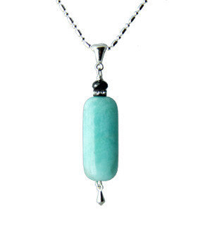 Amazonite and Black Spinel Necklace for Throat Chakra