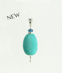Amazonite and London Blue Topaz Pendant for Throat Chakra