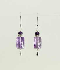 Amethyst Rectangle Earrings For Crown Chakra