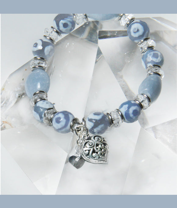 DENIM BLUE STRETCH BRACELET FOR THROAT CHAKRA