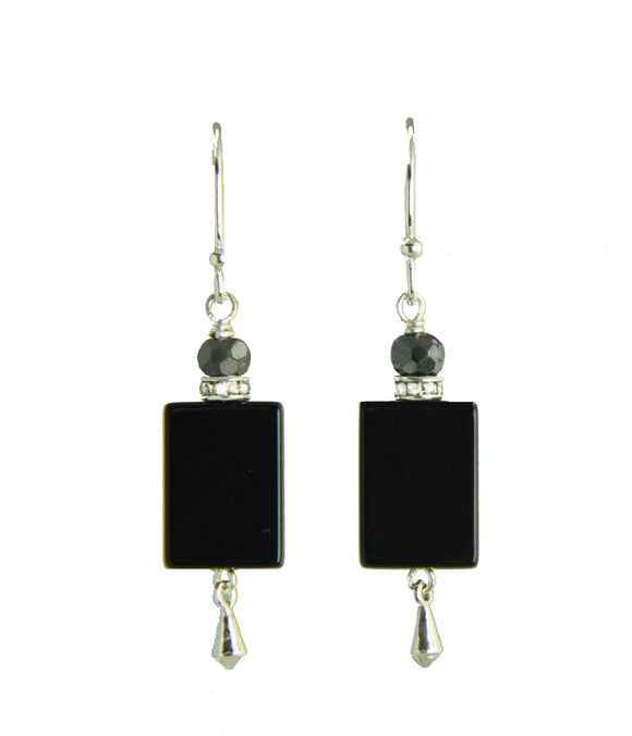 Black Onyx and Hematite Earrings For Root Chakra