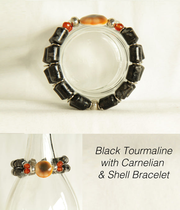 Black Tourmaline, Carnelian & Shell Bracelet for Root Chakra