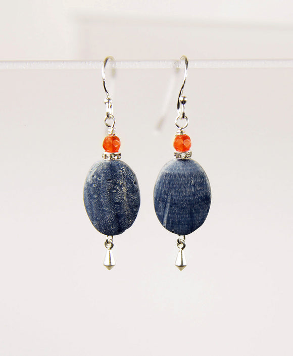 Blue Coral and Carnelian Earrings for Throat Chakra