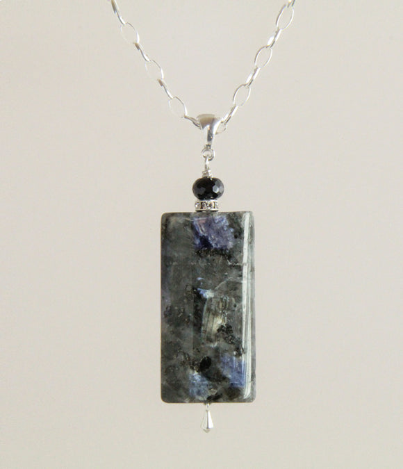 Larvikite & Black Spinel Designer Necklace