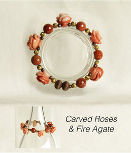 Carved Coral Roses & Fire Agate Bracelet for Heart and Sacral Chakras
