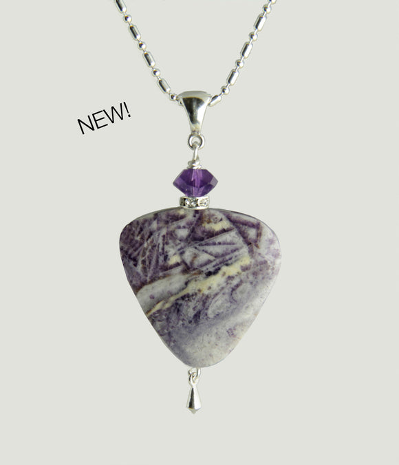 Chinese Charoite and Amethyst Necklace for Crown Chakra