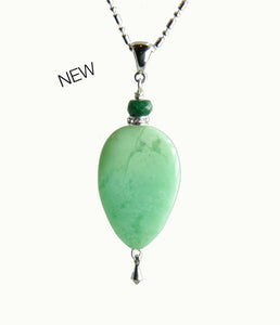Mint Chrysoprase and Emerald Necklace for Heart Chakra