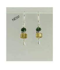 Citrine and Green Quartz Earrings for Core Chakra