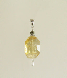Citrine and Golden Pyrite Pendant for Core Chakra
