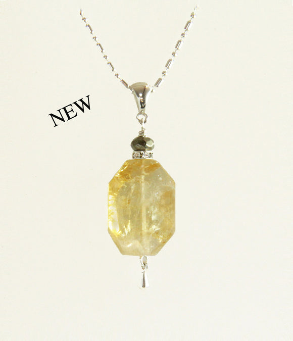 Citrine and Golden Pyrite Necklace for Core Chakra