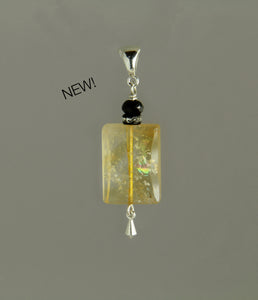 Citrine Rectangle and Black Spinel Pendant for Core Chakra