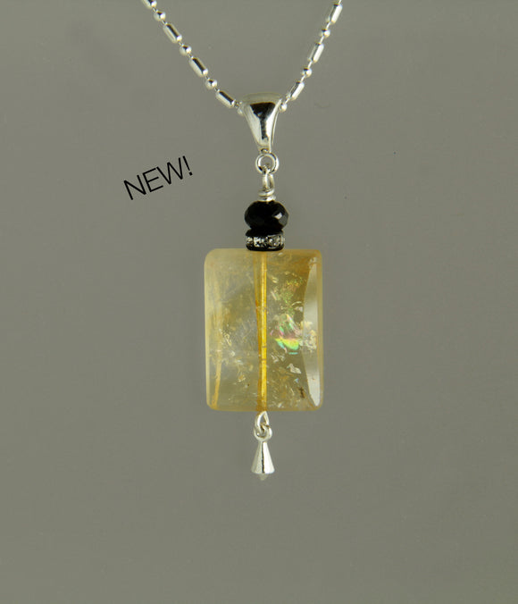 Citrine Rectangle and Black Spinel Necklace for Core Chakra