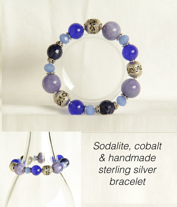 Sodalite, Cobalt & Handmade Sterling Silver Bracelet for Third Eye Chakra #B117
