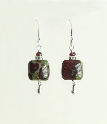 Dragon Blood Jasper Square and Garnet Earrings for Heart Chakra