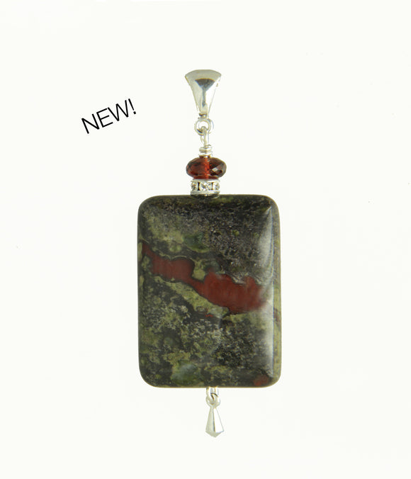 Dragon Blood Jasper and Garnet Pendant for Root Chakra