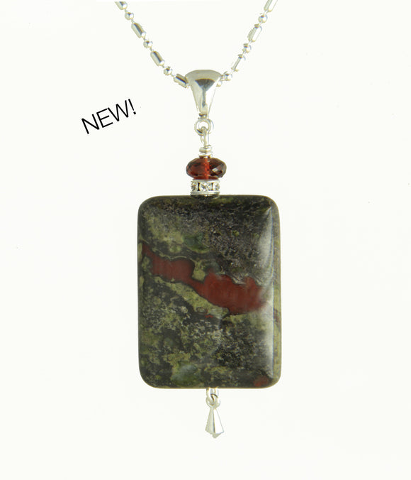 Dragon Blood Jasper and Garnet Necklace for Heart Chakra