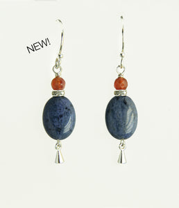 Dumortierite and Fire Agate Earrings for Third Eye Chakra