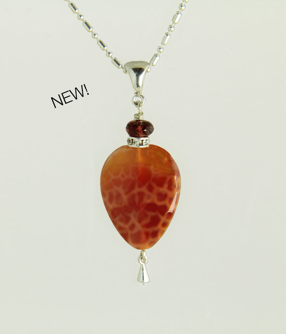 Fire Agate Teardrop and Garnet Necklace for Sacral Chakra