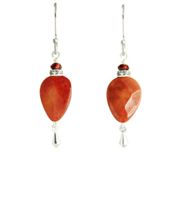 Fire Agate and Garnet Earrings for Sacral Chakra