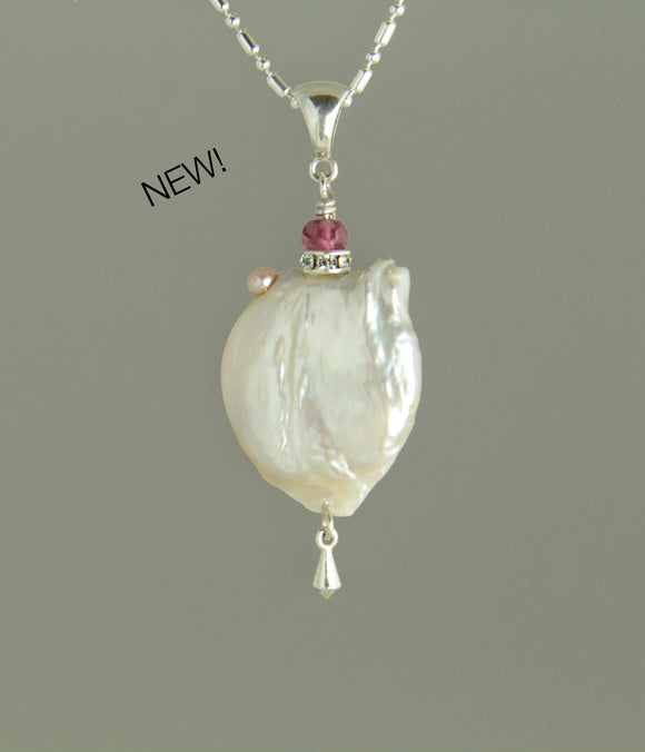 Freshwater Pearl and Tourmaline Necklace for Crown Chakra