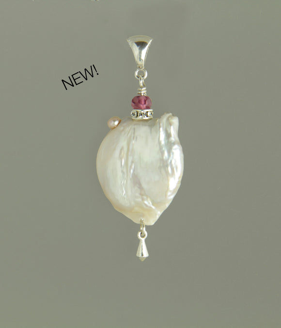 Freshwater Pearl and Tourmaline Pendant for Crown Chakra