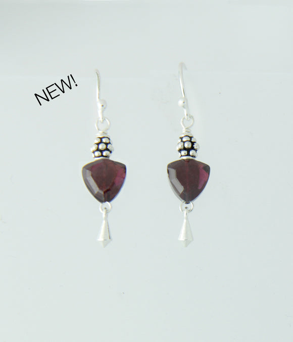 Garnet Trillion Earrings for Root Chakra