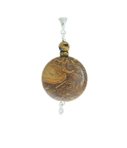 Elephant Skin Jasper & Tiger Eye Pendant for Core Chakra