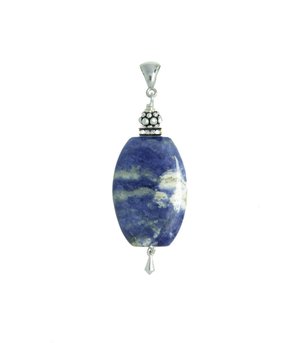 Brazilian Sodalite and Blue Quartz Pendant For Throat Chakra