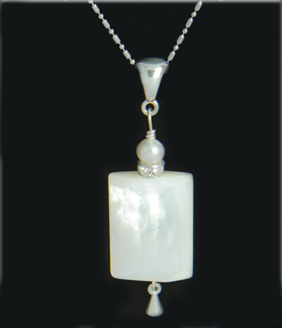 Mother of Pearl and Pearl Necklace for Crown Chakra