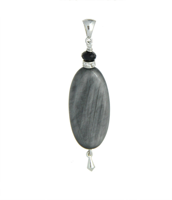 Gray Cat's Eye and Black Spinel Pendant - Root Chakra