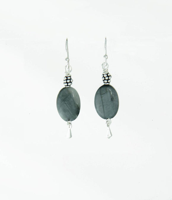 Gray Cat's Eye Earrings - Root Chakra