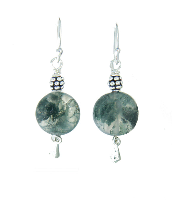 Moss Agate Earrings for Heart Chakra