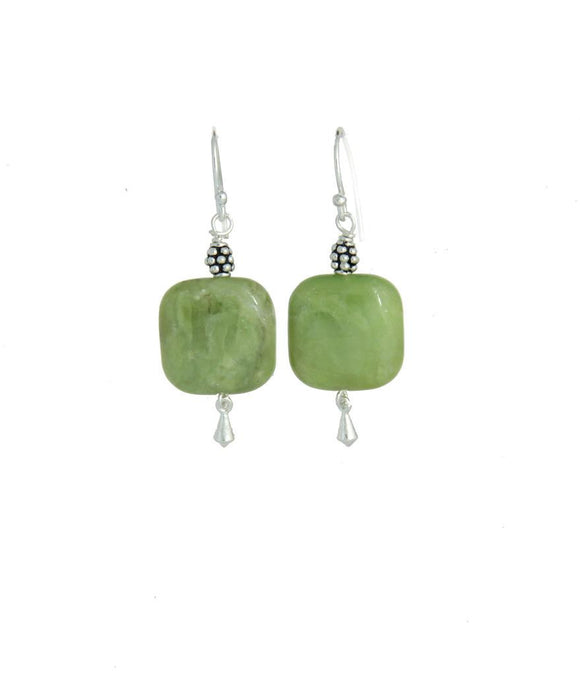 Australian Jade & Golden Topaz Earrings - Heart Chakra
